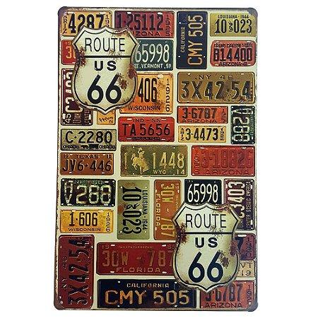 Placa de Metal Decorativa Route 66 Placas - 30 x 20 cm
