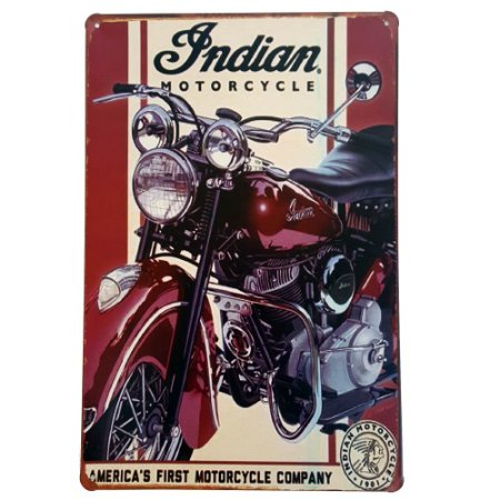 Placa de Metal Decorativa First Motorcycle - 30 x 20 cm