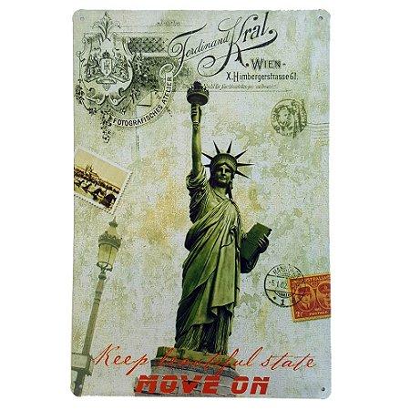 Placa de Metal Decorativa Estátua da Liberdade - 30 x 20 cm