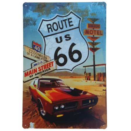Placa de Metal Decorativa Main Street of America - 30 x 20 cm