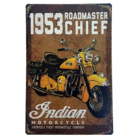 Placa de Metal Decorativa 1953 Roadmaster Chief - 30 x 20 cm