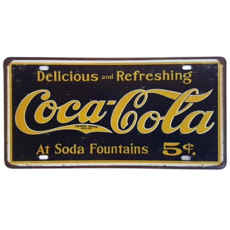 Placa de Metal Decorativa Delicious Coca-Cola - 30,5 x 15,5 cm
