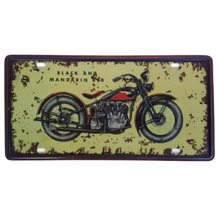 Placa de Metal Decorativa Black and Mandarin - 30,5 x 15,5 cm