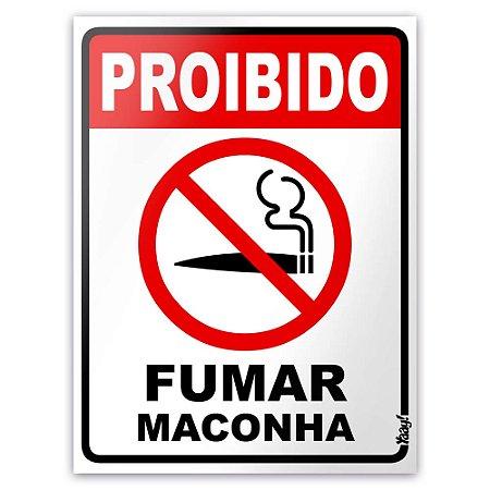 Placa - Proibido fumar maconha - 15 x 20cm