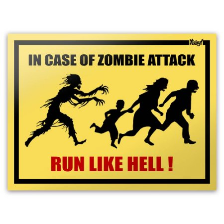 Placa In Case Of Zombie Attack Run Like Hell - 20 x 15 cm