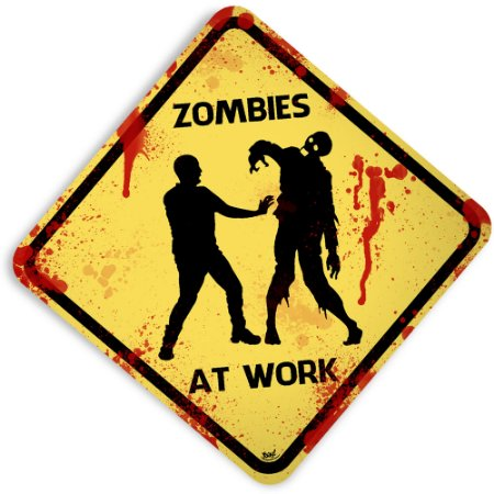 Placa Zombies At Work - 32 x 32 cm