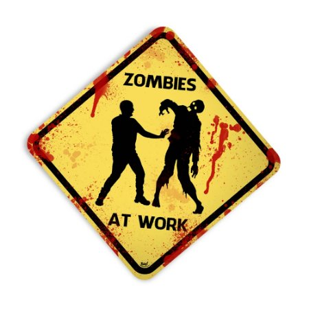 Placa Zombies At Work - pequena 22 x 22 cm