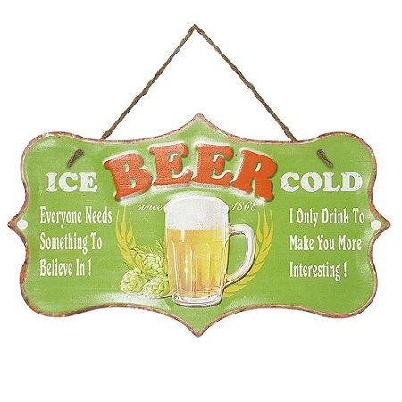 Placa de Metal Alto Relevo Ice Beer Cold