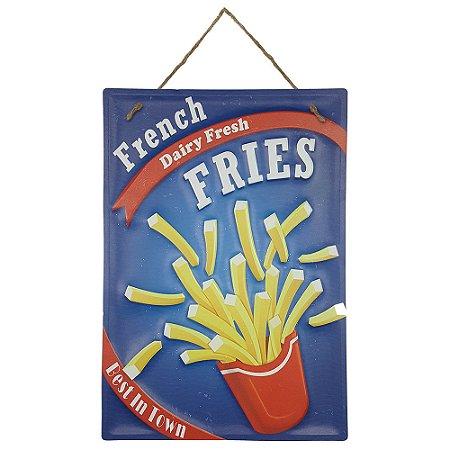 Placa de Metal Alto Relevo French Fries Fritas