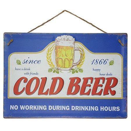 Placa de Metal Alto Relevo Cold Beer