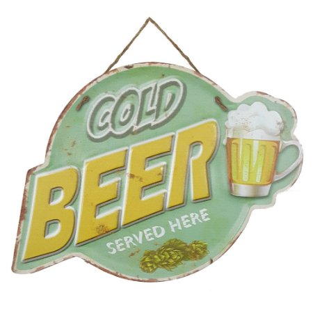 Placa de Metal Alto Relevo Cold Beer Served Here