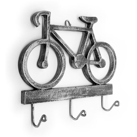Cabideiro Porta Chaves Rústico Bicicleta - Resina cor prata