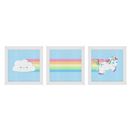 Set de Quadros Nuvem Arco Íris Unicórnio