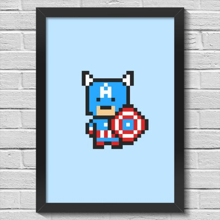 Poster A3 com Moldura Capitão Pixel América