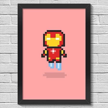 Poster A3 com Moldura Iron Pixel Man