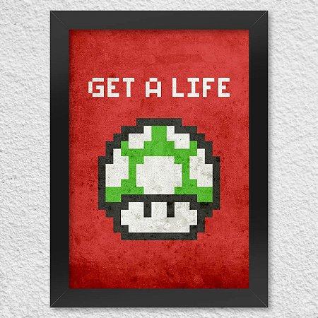 Poster com Moldura Cogumelo Pixel Get a Life