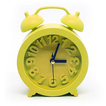 Relógio de mesa redondo com despertador - amarelo