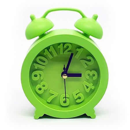 Relógio de mesa redondo com despertador - verde