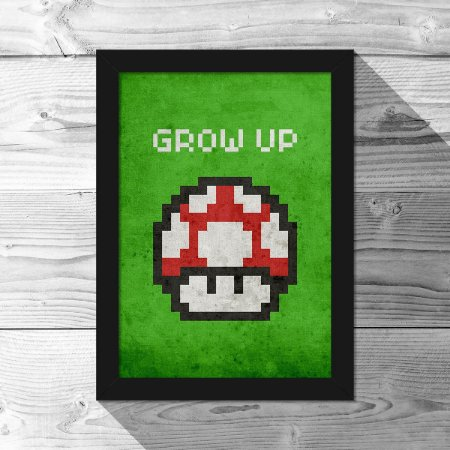 Quadro A4 Cogumelo Pixel Grow Up
