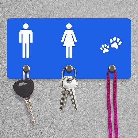 Porta Chaves Ele Ela Pets - azul