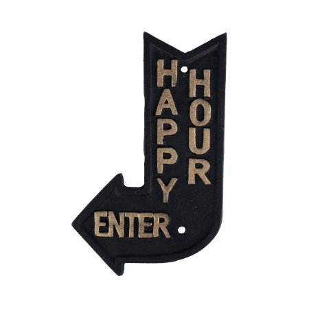 Placa Rústica de ferro Happy Hour - preto