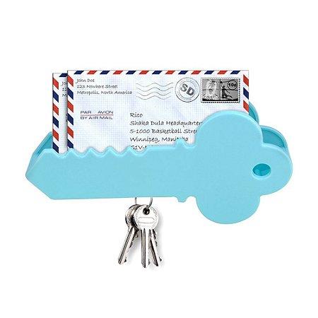 Porta Chaves e Cartas Magnético - Chave - Azul