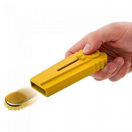 Chaveiro Abridor de Garrafa com Lança Tampinhas - amarelo