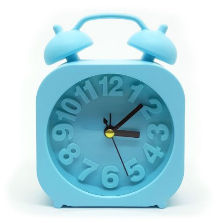 Relógio de mesa Retrô Moderno quadrado - azul
