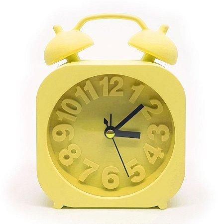 Relógio de mesa Retrô Moderno quadrado - amarelo