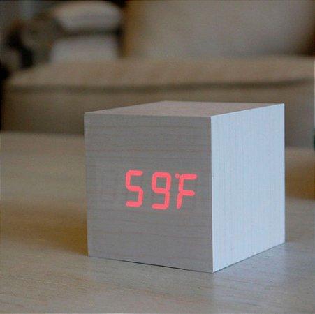 Relógio Cubo de Madeira - branco