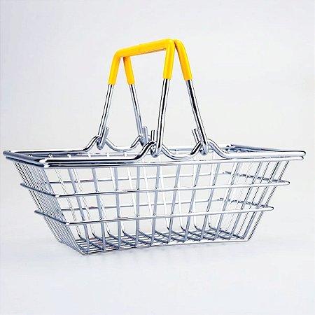 Porta Trecos Mini Cesta de Compras - amarelo