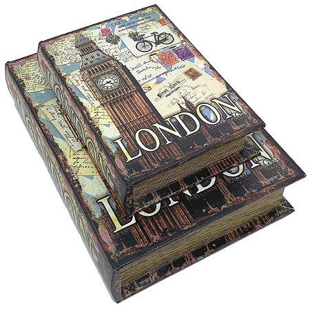 Kit Caixa Livro Decorativa London Bike - 2 peças