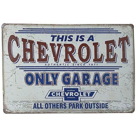 Placa de Metal Chevrolet Only Garage - 30 x 20 cm