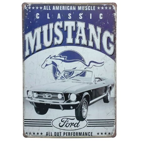 Placa de Metal Ford Classic Mustang - 30 x 20 cm