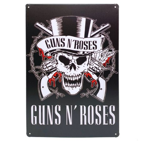 Placa de Metal Guns n' Roses - 30 x 20 cm