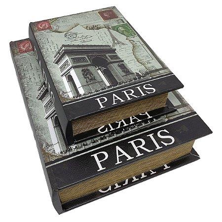 Kit Caixa Livro Decorativa Arco do Triunfo Paris - 2 peças