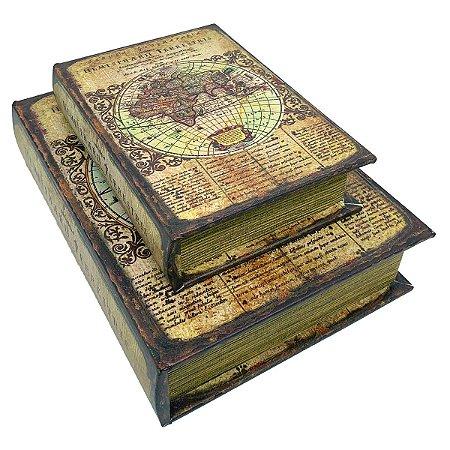 Kit Caixa Livro Decorativa Globo Retrô - 2 peças