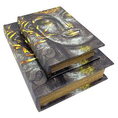 Kit Caixa Livro Decorativa Buda Estátua - 2 peças