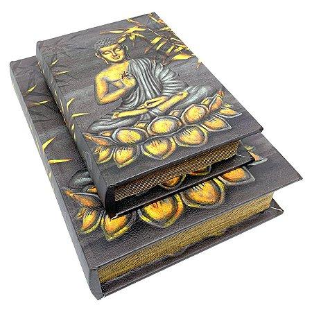 Kit Caixa Livro Decorativa Buda Meditando - 2 peças