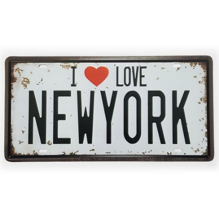 Placa de Metal Decorativa I Love New York