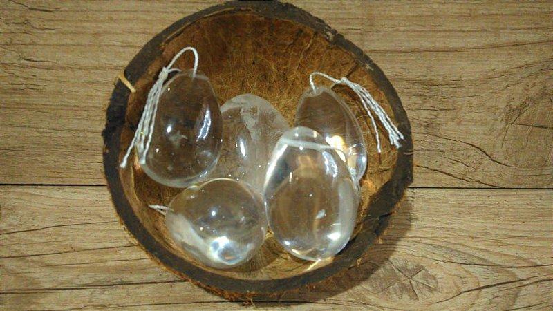 ATACADO: Yoni Ovo Cristal de Quartzo / Cristal Transparente SEM FURO para Pompoarismo 10 UNIDADES - 3,5 a 4,5 Centímetros - SOB ENCOMENDA - PADRONIZADO