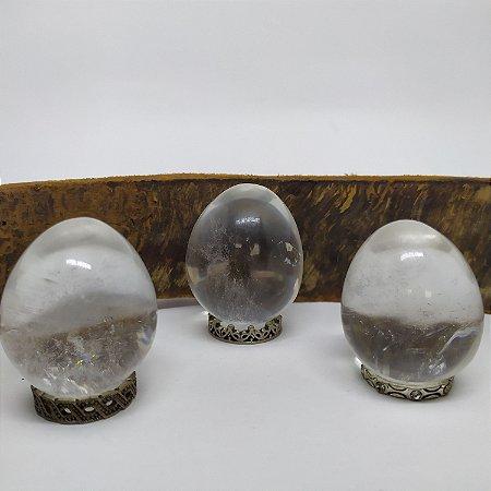 Yoni Ovo (Yoni EGG) de Quartzo Cristal / Cristal Transparente / Hialino Sem Furo para Pompoarismo / Cristaloterapia / Energia Quântica (Kegel)