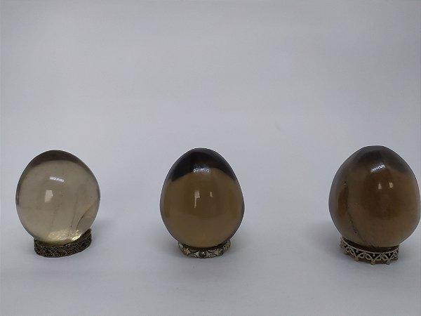 Yoni Ovo (Yoni EGG) de Quartzo Fumê Sem Furo para Pompoarismo / Cristaloterapia / Energia Quântica (Kegel)