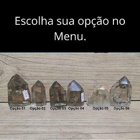 Ponta de Cristal Gerador Quartzo Fumê - Sextavado