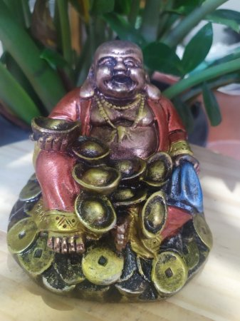 Buda da Prosperidade - Buda Gordinho - Arte Barroca - Todo pintado a mão