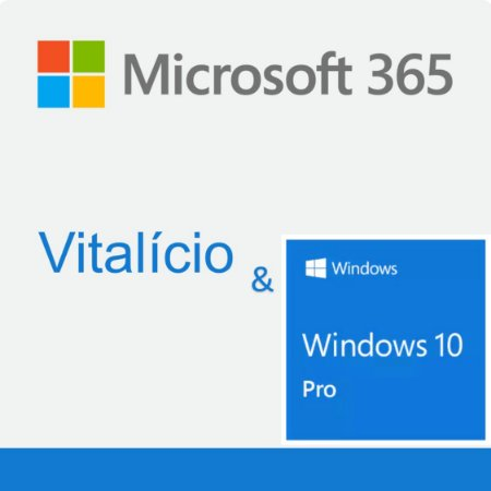 Microsoft 365 Vitalício 1 Licença para 10 PC, 10 Mac, 10 iOS e 10 Android + 1TB de Armazenamento & Microsoft Windows 10 Pro 2 Licenças para PC/MAC