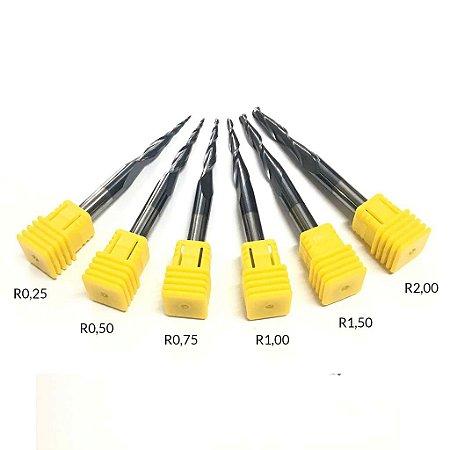 Kit 6 Fresas Cônica Esférica R0,25 / 0,50 / 0,75 / 1 / 1,50 / 2,00 x 30,5mm - 75mm Haste 6mm - HRC55