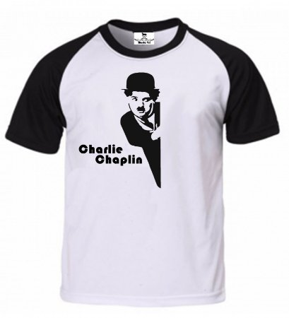 Camiseta raglan manga preta charlie Chaplin - Moda Tri feddc072684f6