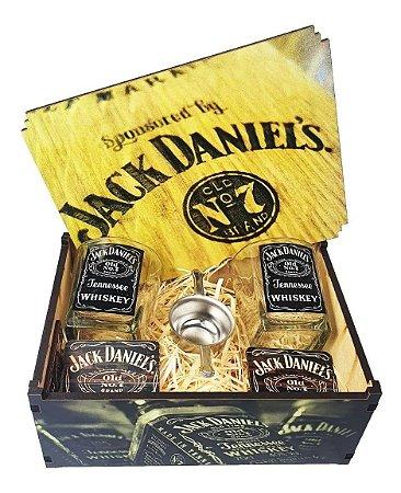 Kit Whisky Jack Daniels Caixa + 2 Copos + Dosador + Porta Copo
