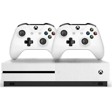 Console Xbox One S MIcrosoft 1TB 4K 2 Controles Branco - Bivolt